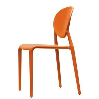 Chaise en polypropylène recyclable, dos plein Existe en lin, orange, rouge, anthracite