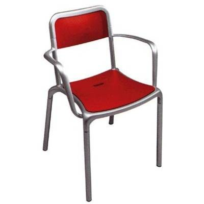 Stackable - Aluminium frame - Polypropylène coloured seating and back.