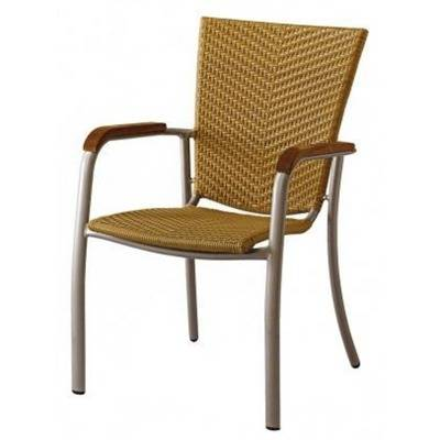 frame alu color gray alu, braiding poly thyl does chocolate or natural + armrests teak