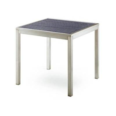 Table 80 x 80 grey base, tray grey or color teak