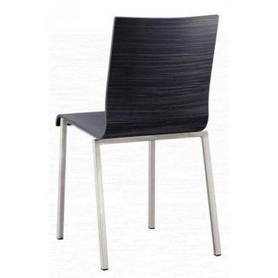 Zebrano or Ebene chair, squared frame 20x20 with aluminium pattern finis
