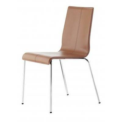 Upholstered (/C).Dark, light brown or black leather. Round  aluminium or chromed frame
