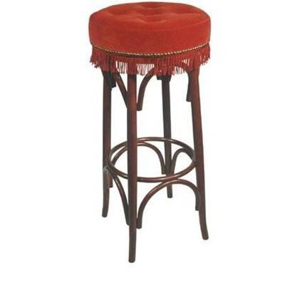 Barstool with upholstered seating with buttons