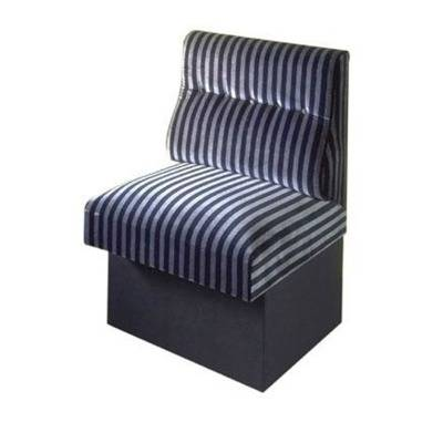 On pedestal, tight seating and back on shape with one row of buttons. Flame retardant velvet upholstered.